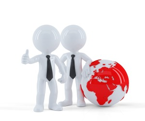 Business people standing in front of the globe. Business concept.