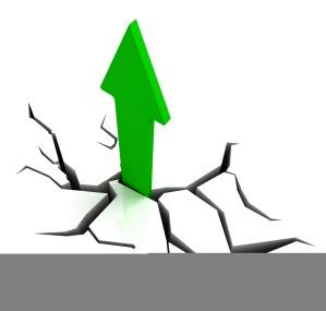 Green Upward Arrow Shows Breakthrough